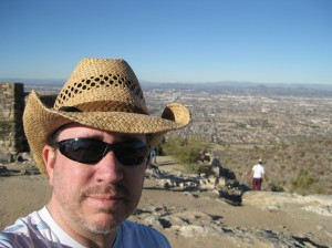 The blogger hosting me this week, Cynthia Robertson, is from Arizona, where I grew up. I'll be back in Arizona on January 2nd for a book signing. (Here I am pictured on Phoenix's South Mountain in 2009).