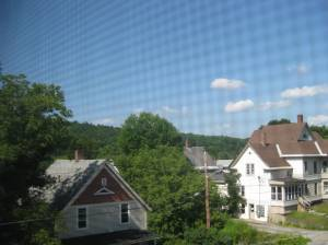 A view of our hilltop neighborhood in Montpelier from my dorm window. Yes, I'm taking the photo through my window's mesh screen. Let's pretend I chose to include that in the photo for artistic effect.