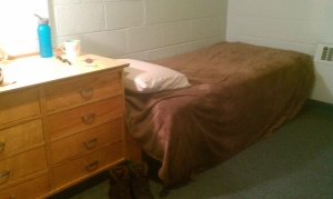 Here's a photo of my dorm bed from last winter's residency; the mattress is shorter than I am.