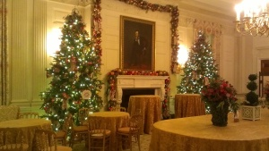 Just before Christmas, I had the opportunity to see how the White House was decorated for Christmas. The State Dining Room gets two trees, and why not?