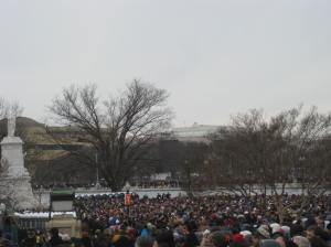 Now I'm looking west, past the Capitol reflecting pool. Crowds reached the Washington Monument.