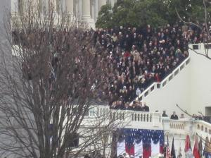 It was great to have a ticket for standing room space on Capitol Hill, but by the time we got through security our view of the festivities was blocked by a tree. It's a good thing this wasn't an April inauguration, as they used to be, or that tree would have been covered in leaves.