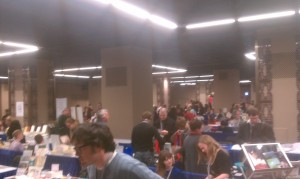 A poor-quality photograph of a very small portion of last year's AWP Bookfair in Chicago.