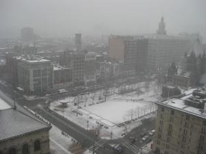 This is the view of Boston out of my hotel window this morning. They don't have many snowstorms in Seattle, right?
