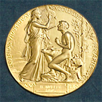From the Nobel Prize site we learn that the Nobel Prize Medal for Literature depicts a young man under a laurel tree listening to and transcribing the song of the Muse. Learn more by clicking on this image.