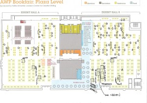 This is a map of one of the two floors of the AWP Bookfair. I'm scribbling some of the booths and tables I'd like to visit, because I know there simply isn't time to visit each exhibitor. Ugh.
