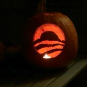 This was last year's creation. Yes I am a supporter of President Obama, and his logo proved pretty easy to carve.