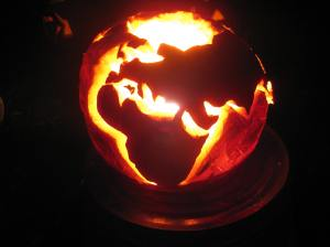 Europe, Eurasia and Africa simply weren't sufficiently anchored with pumpkin. Within 24 hours this globe was collapsing as if it were in a Michael Bay movie.