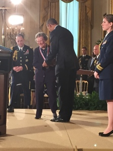 My non-professional photo of Edith Flanigen receiving the National Medal of Technology and Innovation from President Barack Obama.