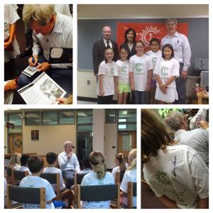 Steve Sasson, inventor of the digital camera, talks with future inventors at a Camp Invention in Alexandria, Virginia.